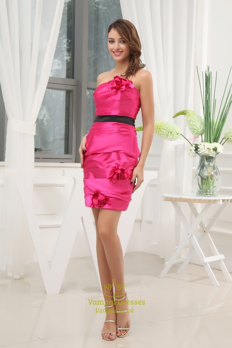 hot pink short strapless prom dress hot pink and black