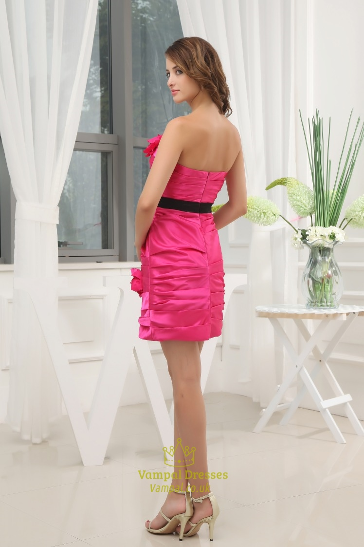 Hot Pink Short Strapless Prom Dress, Hot Pink And Black ... - photo#29