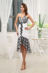 Black And White High Low Prom Dress,Black Lace Dress For Wedding Guest