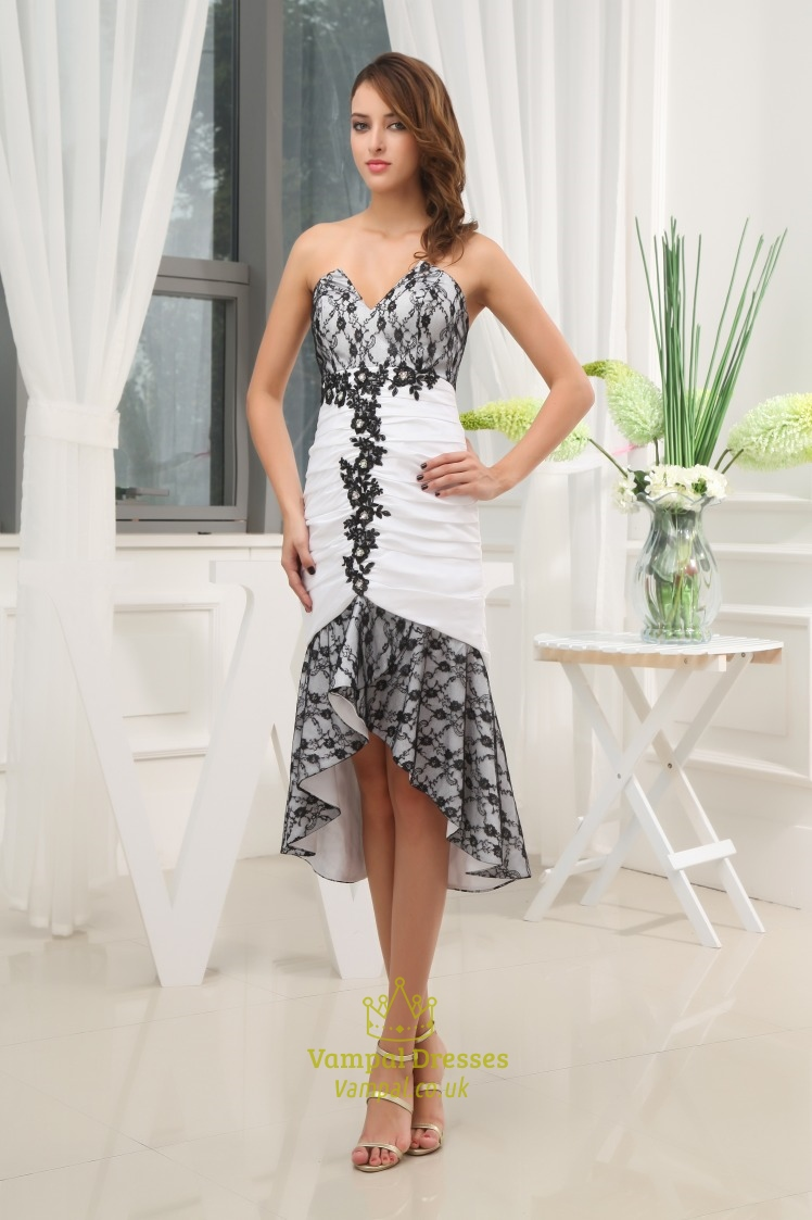 Awesome Black And White High Low Prom Dress,Black Lace Dress For Wedding Guest