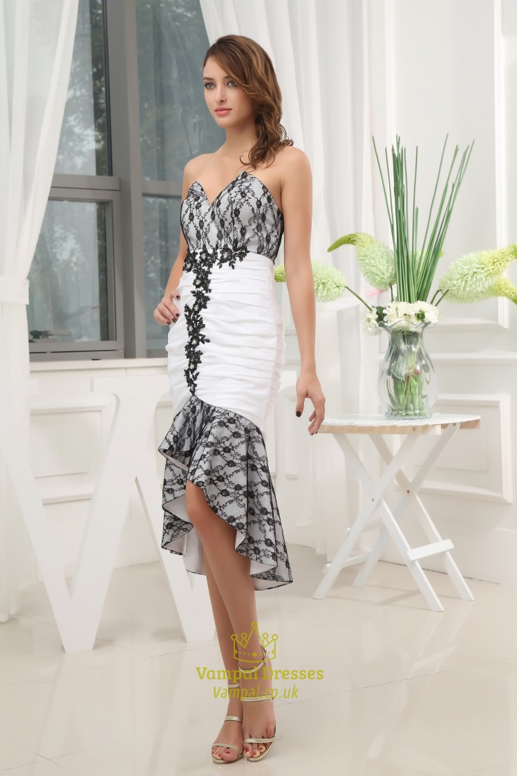 Black and white high low prom dress black lace dress for for Black and white dress for wedding guest