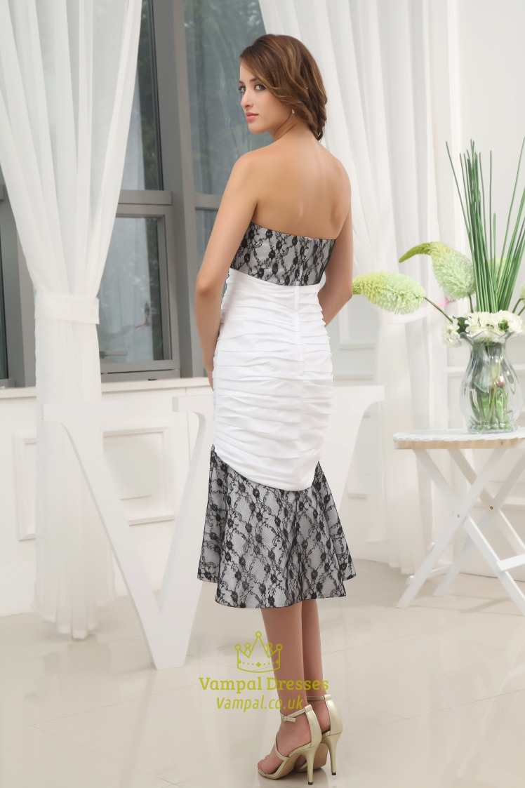 Black and white high low prom dress black lace dress for for Black and white dresses for wedding guests