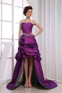 Eggplant Purple Prom Dresses, Strapless Embellished High Low Dress