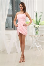 Pink Cocktail Dresses For Women, Side Draped Cocktail Dress