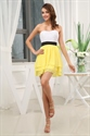 White And Yellow Bridesmaid Dresses, Layered Sweetheart Cocktail Dress