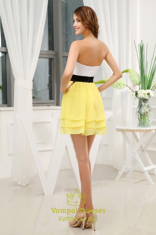 Yellow White Bridesmaid Dresses 110