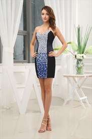 Short Strapless Beaded Prom Dress, Black And Silver Sequin Party Dress