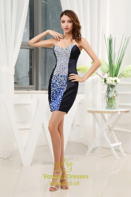 short strapless beaded prom dress black and silver sequin