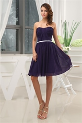 Short Strapless Chiffon Bridesmaid Dress,Purple Chiffon Cocktail Dress