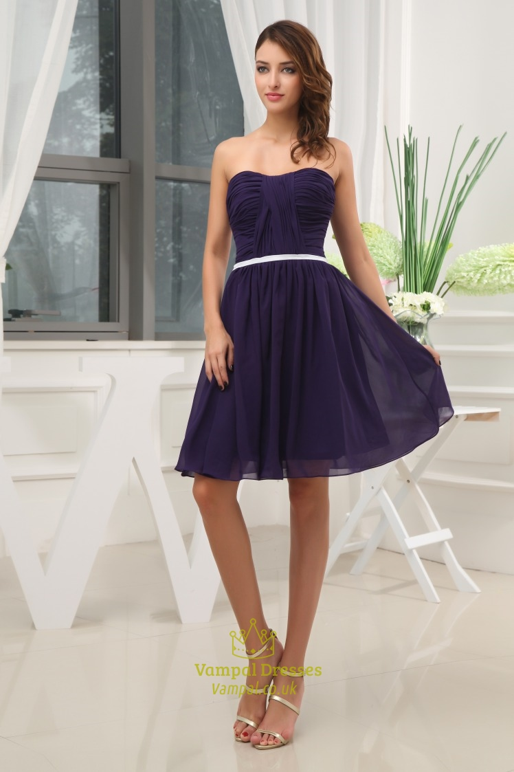 Short Strapless Chiffon Bridesmaid Dress Purple Chiffon