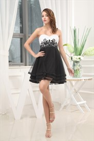 Black And White Short Prom Dresses, White And Black Sweet 16 Dresses