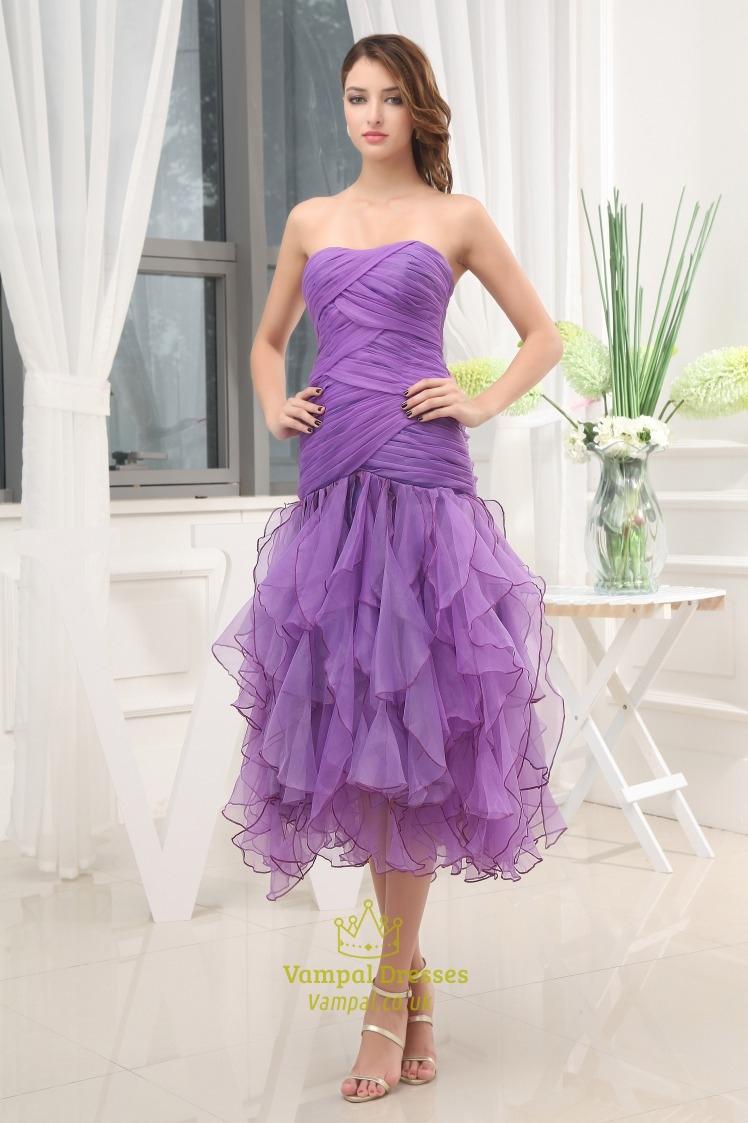 Violet Purple Prom Dresses, Tea-Length Organza Bridesmaid Dresses ...