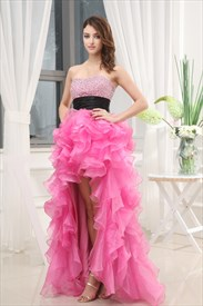 Pink High Low Prom Dress, High Low Dresses For Pageants