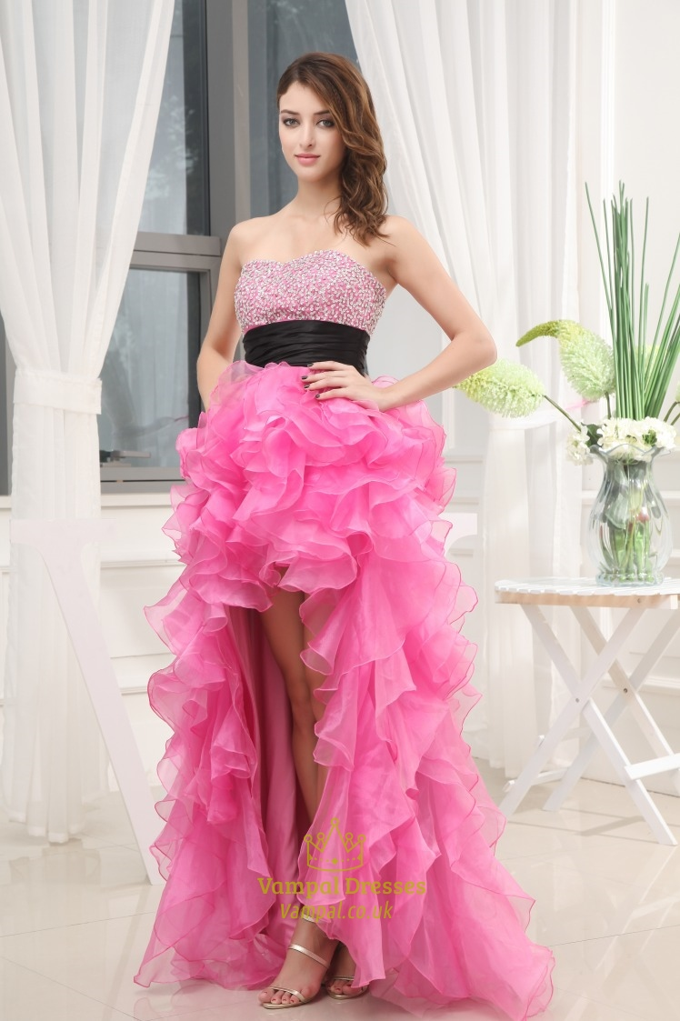 Pink High Low Prom Dress, High Low Dresses For Pageants | Vampal Dresses