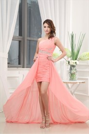 One Shoulder Applique Ruching Chiffon Prom Dress, Coral High Low Dress