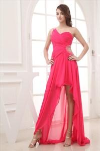 Hot Pink High Low Prom Dress, One Shoulder High Low Formal Dress
