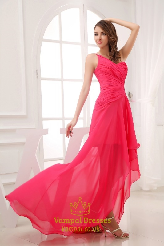 hot pink high low prom dress one shoulder high low formal