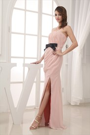 Peach Chiffon Prom Dress, Strapless Chiffon A-Line Dress With Draped