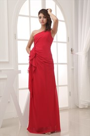 Red Chiffon One Shoulder Ruffle Dress, Long Red One Shoulder Prom Gown
