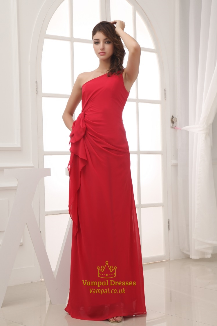 Red Chiffon One Shoulder Ruffle Dress Long Red One