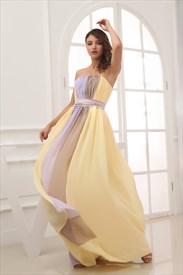Light Yellow Strapless Prom Gown,Floor Length Chiffon Bridesmaid Dress