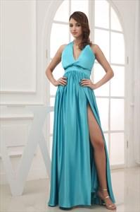 Turquoise Blue Prom Dresses 2021, V-Neck Halter Prom Dress