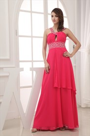Chiffon A-Line Floor-Length Prom Dress, Long Keyhole Embellished Dress