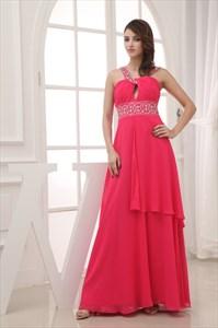 Chiffon A-Line Floor-Length Prom Dress, Long Keyhole Embellished Dress