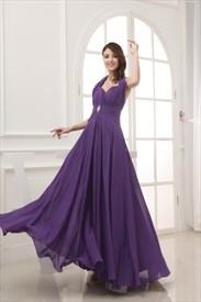 Purple Halter Prom Dresses, Long Chiffon Halter Bridesmaid Dresses