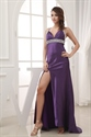 V-Neck Empire Waist Evening Dress, Prom Dresses With Slits On The Side
