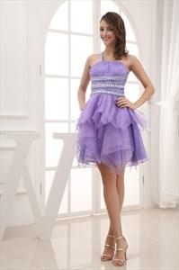 Organza One Shoulder Cocktail Dress, Lilac Pleated One Shoulder Dress