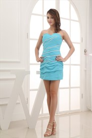 Aqua Blue Strapless Prom Dress, Short Chiffon Homecoming Dresses