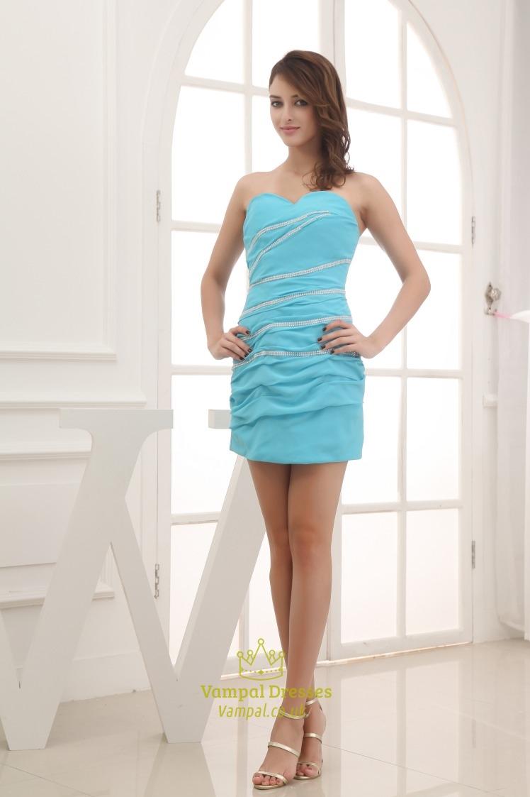 Aqua Blue Strapless Prom Dress, Short Chiffon Homecoming ... - photo#9