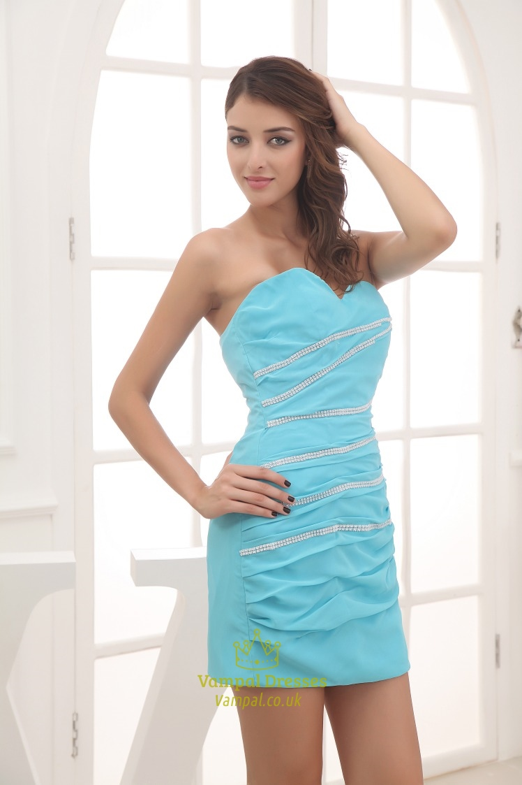 Aqua Blue Strapless Prom Dress Short Chiffon Homecoming