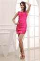 Hot Pink Short Prom Dresses 2021, Short Pleated Dresses For Prom