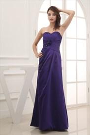 Long Purple Satin Bridesmaid Dresses, Long Strapless Purple Prom Dress