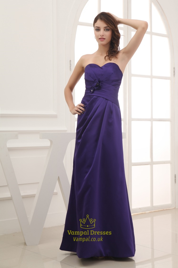 Long purple satin bridesmaid dresses long strapless for Long strapless wedding dresses