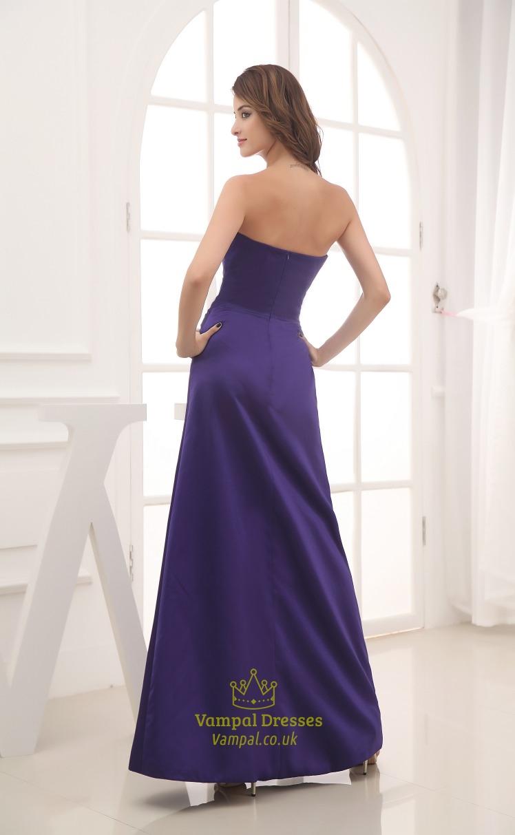 long purple satin bridesmaid dresses long strapless