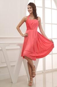 Coral Halter Bridesmaid Dresses, Short Chiffon Halter Bridesmaid Dress