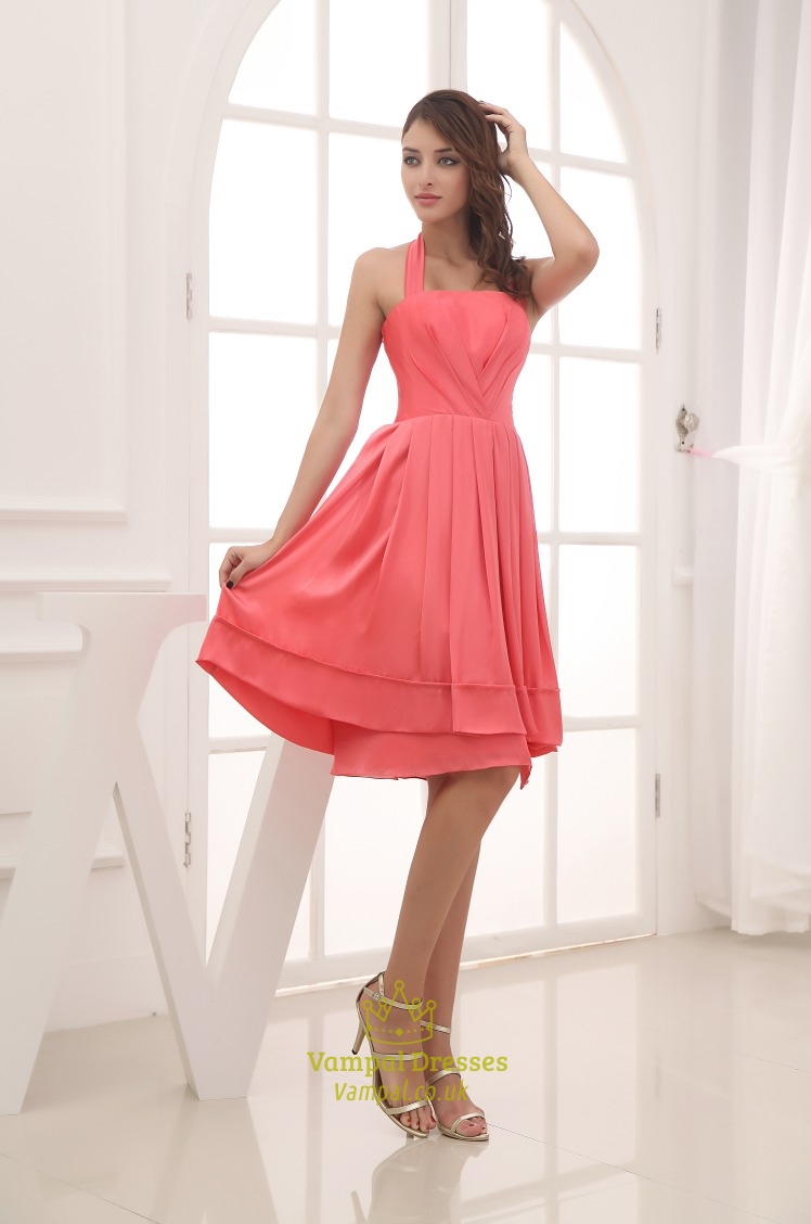 Coral halter bridesmaid dresses short chiffon halter bridesmaid coral halter bridesmaid dresses short chiffon halter bridesmaid dress ombrellifo Image collections