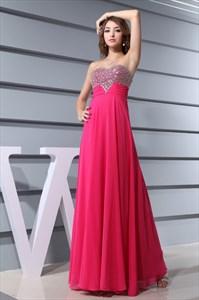 Sweetheart Long Chiffon Evening Dress, Hot Pink Strapless Prom Dress