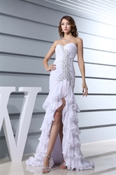 Prom Dresses With Slits Up The Side,White Chiffon Strapless Prom Dress