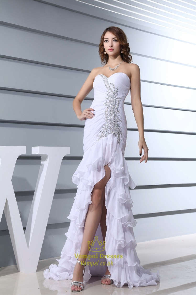Prom Dresses With Slits Up The Side,White Chiffon Strapless Prom ...