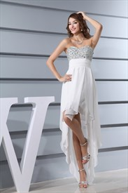 Ivory Strapless High Low Dress, Chiffon Strapless Sweetheart Prom Gown