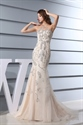 Mermaid Sweetheart Cocktail Organza Evening Dress, Champagne Prom Gown
