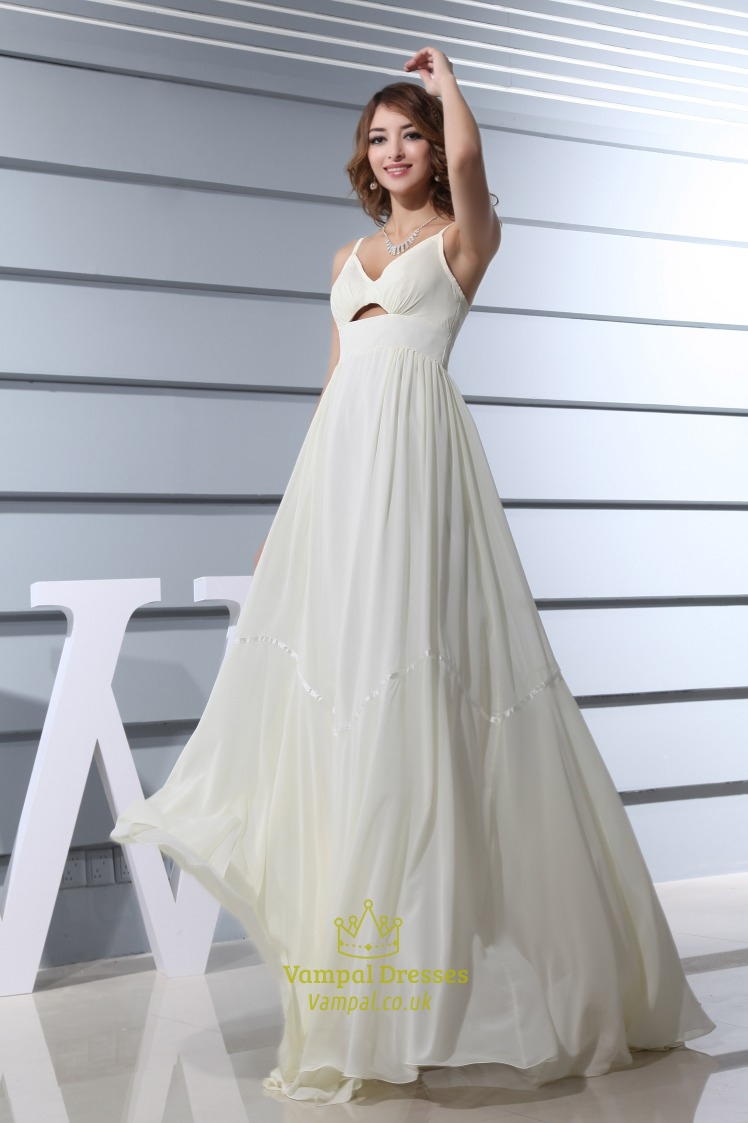 Ivory Empire Waist Chiffon Wedding Dress, Spaghetti Strap ...