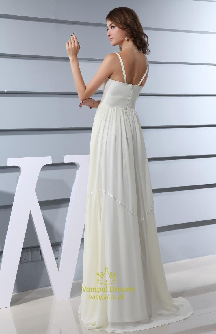 Ivory Empire Waist Chiffon Wedding Dress Spaghetti Strap