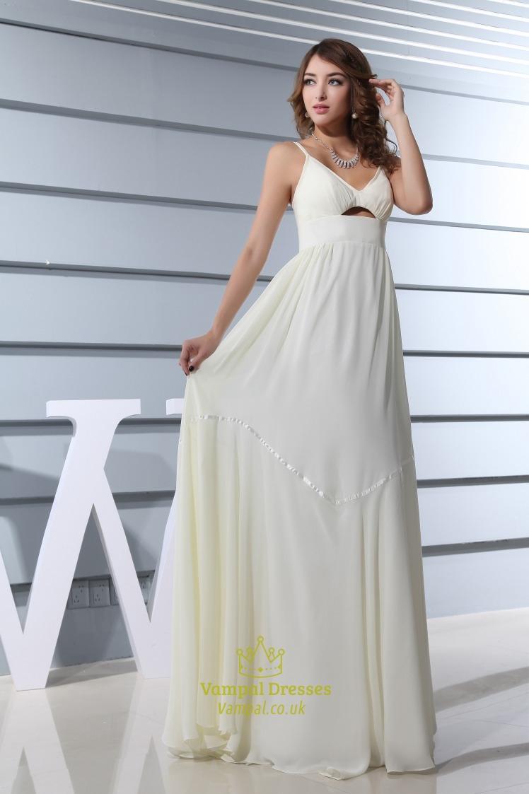 Ivory empire waist chiffon wedding dress spaghetti strap for Ivory empire waist wedding dress