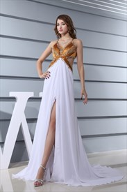 White And Gold Sequin Prom Dress, V-Neck Empire Waist Evening Dress