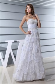 A Line Strapless Lace Wedding Dress,Sweetheart Lace Wedding Dress 2019
